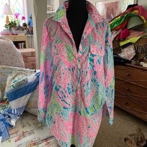 Lilly Pulitzer Captiva Tunic in Let's Cha Cha, XL